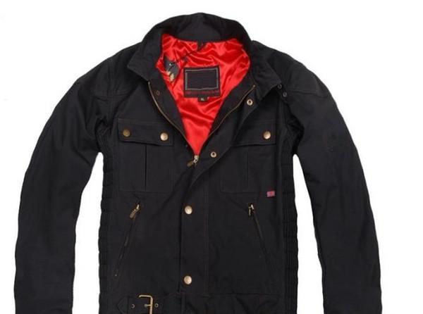 Мужская куртка Новая мода логотип бренда Мужчины Прохладный мотоциклов куртки кожа зима осень Mens Wax Верхняя одежда Roadmaster Куртки, ветровки с хлопком