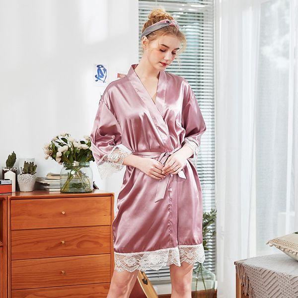2019 новые шелковые пижамы женщин весной и летом тонкий срез ледяной шелк халат свадебное платье ins сексуальный кружевной халат
