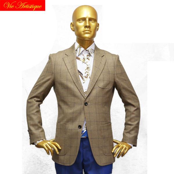 custom tailor made Men's bespoke suits business formal wedding bespoke 1 piece hunter Jacket coat plaid tweed wool 2019 winter