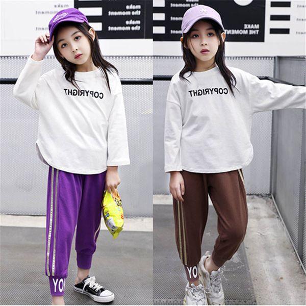 Kids tracksuit girls casual suits kids designer clothes girls tracksuit new 2019 autumn long sleeve t shirt+harem pants sweat suit A7423
