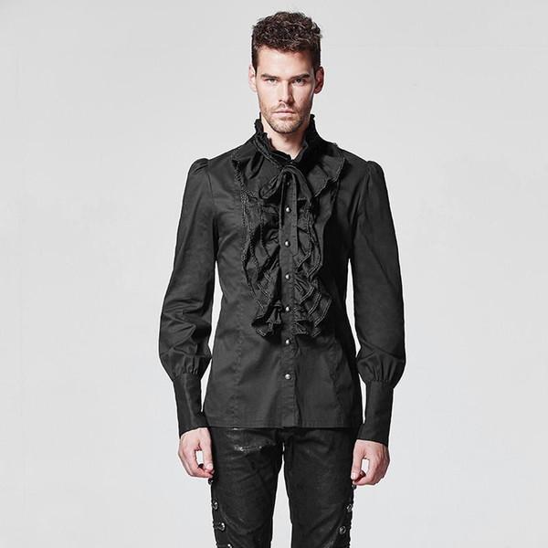 Camisas góticas dos punhos góticos dos homens do delírio do punk Slim couberam camisas Y-597