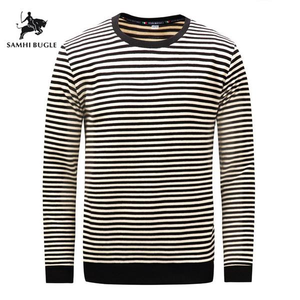 2019 Herbst Winter Langarm Dickes T-shirt Männer Gestreiften Casual Homme T-shirt 100% Baumwolle Marke T-shirt Weiche Tops Tees