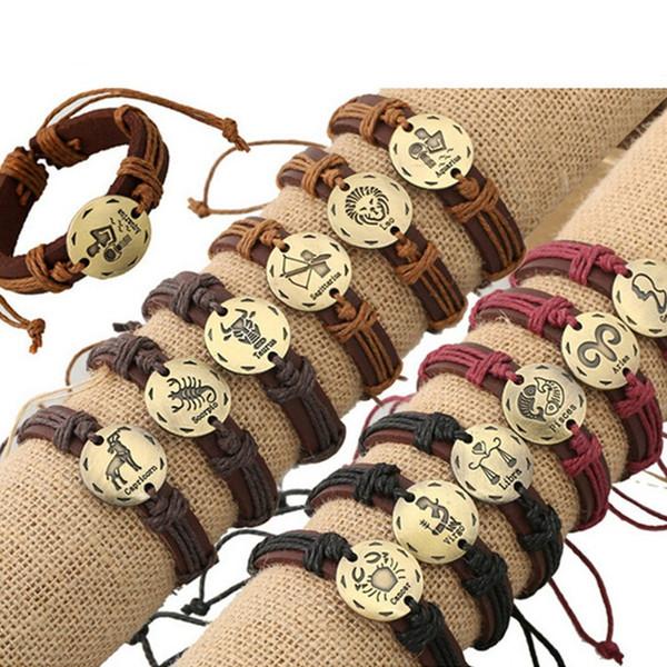12PCS Trendy 12 Zodiac Signs Leather Bracelet Adjustable Men Silver/Gold Color Charms Constellations Leather Bracelet Jewelry