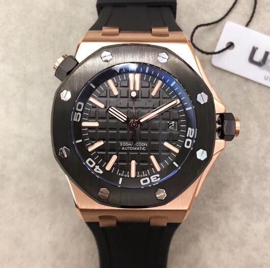 Limited Royal Oak Mens Watch Offshore Diver Automatic Mechanical Movement Rose Gold Black Watch Rubber Belt 42mm Male Clock WristWatches