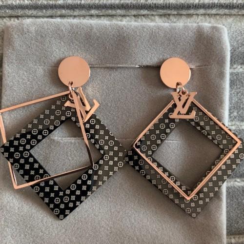 2019 nouvelle Titanium Steel noir rose plaqué or Noël carré lettre lettre boucles d'oreilles bande de mariage dangle hommes femmes bijoux