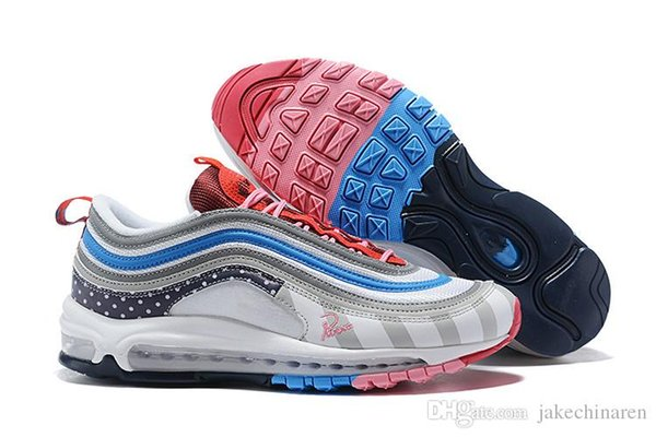 Nike Air Max 97 OG Pure Platinum University Red White AR5531 002 Women's Men's Casual Shoes AR5531 002A