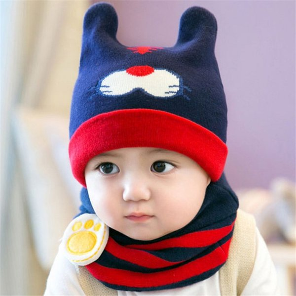 Unisex Children Tiger Crochet Knitted Caps And Scarf Winter Warm Earflap Suit Set Baby Toddler Warm Kids Cute Pattern Beanies Hat Set