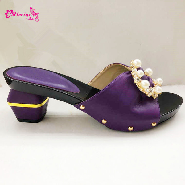 2019 New Summer Purple New Style Rhinestone Slippers Shoes African Woman Thin High Heels Shoes For Wedding Party Shipping By DHL