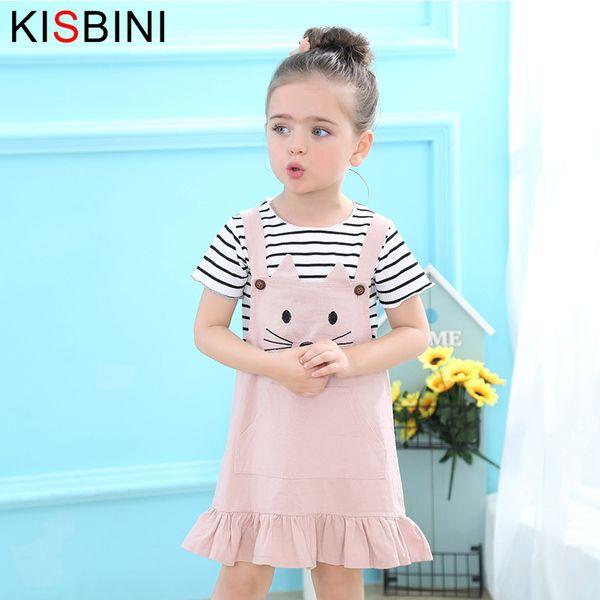 good quality 2019 Fashion 2pcs/Set Baby Girls Clothes Cartoon Cute Cat Pattern Stripped T-shirt+Suspenders Dress Set Princess Dress