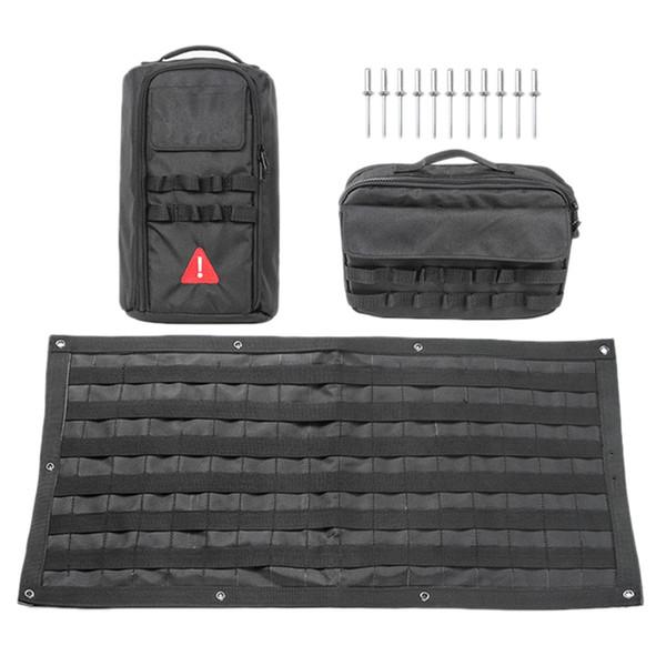 1 Set voiture Accessoires queue Sacs Porte de rangement Trousse d'outils Organisateur Camping Mat pour Wrangler Jk Jl 2007-2018 + Queue Sac porte