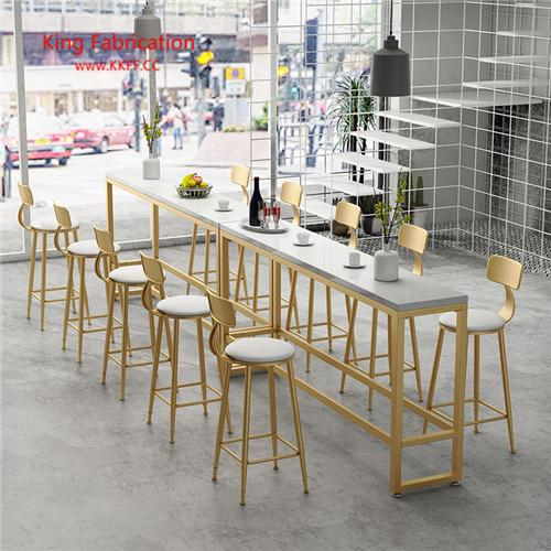 Bar table and chairs high table Nordic marble iron cafe wall table and chair