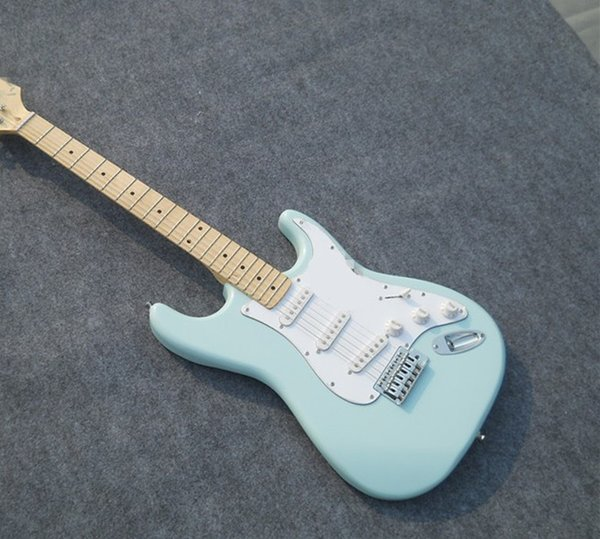 Light blue St electric guitar, suitcase, SSS pickup, white guard board, maple finger board, high quality free delivery, welcome