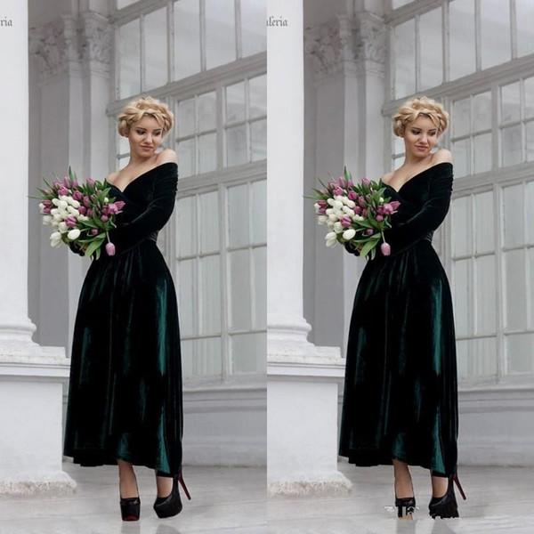 Dark Green cocktail dei vestiti di velluto del vestito da sera fuori dalla spalla maniche lunghe Una linea ankle-lunghezza Abito da sera vestito da partito di promenade