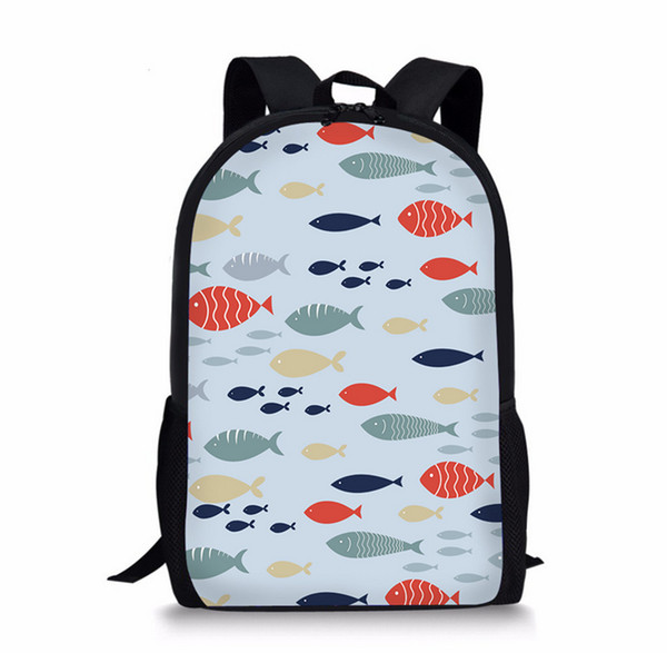 Fish Printing Children Girls School Bags For Teenage Casual Daily laptop Backpacks M003