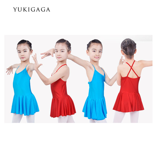 One-Piece Girls Dress Ballet Ballet Danse Gymnastique justaucorps Performance Wear Danse Robe Bleu Rouge Rose Jaune