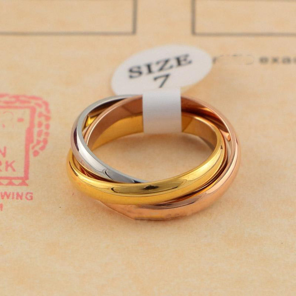 best selling Classic Three-rings Ring for Men Women Couple Fashion Simple Style Rings with Three Colors Rose Gold Rings