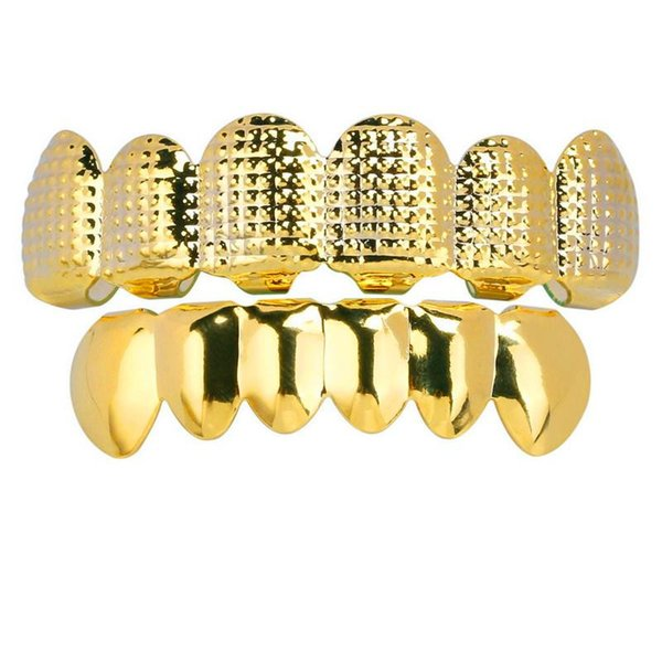 Bling CZ Stone Gold Teeth Grllz Men Hiphop Jewelry Iced Out 18K Gold Plated Diamond Hip Hop Dental Grills Cap