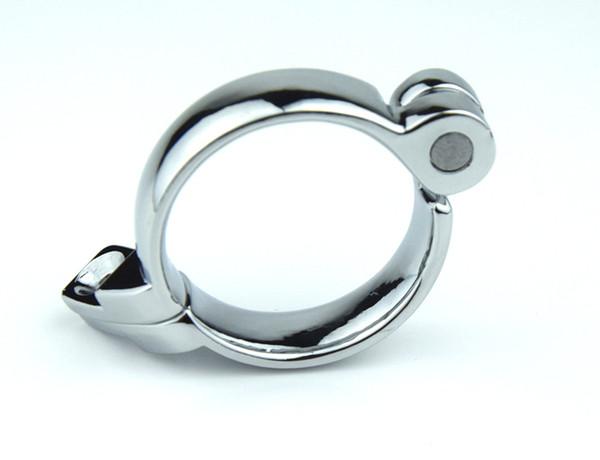1 PC suministros adultos fuera de combate de acero inoxidable macho cinturón de castidad cierre broche, anillo de pene, anillo de la manga del pene para dispositivo de castidad