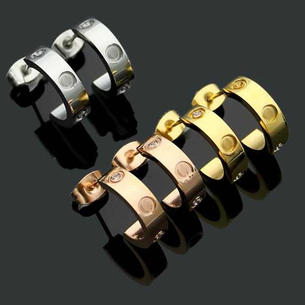 best selling Wholesale price classic design studs titanium steel screw with drill earrings semi-circular opening with drill earrings for women gift