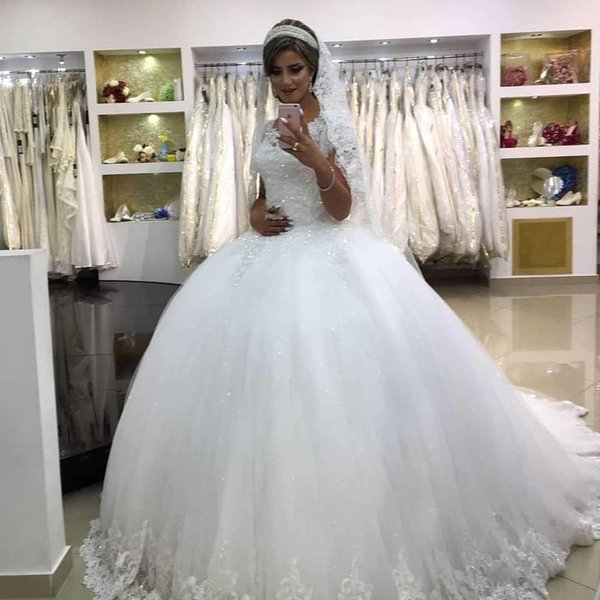 Saudi Arabic Dubai Ball Gown Wedding Dresses Cap Sleeve Crew Neck Appliques Sequins Long Bride Formal Wedding Gowns Maternity