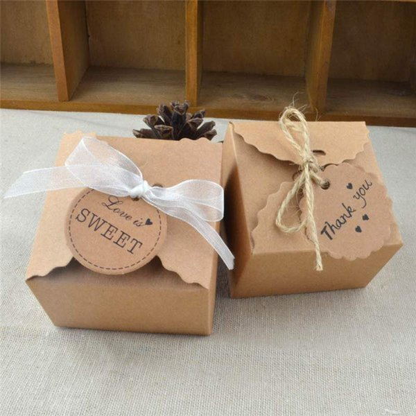 100 pcs/Lot Vintage Retro Mini Kraft Paper Box Wedding Gift Favor Boxes Party Supplies Candy Box Packaging with Ribbon and Tag