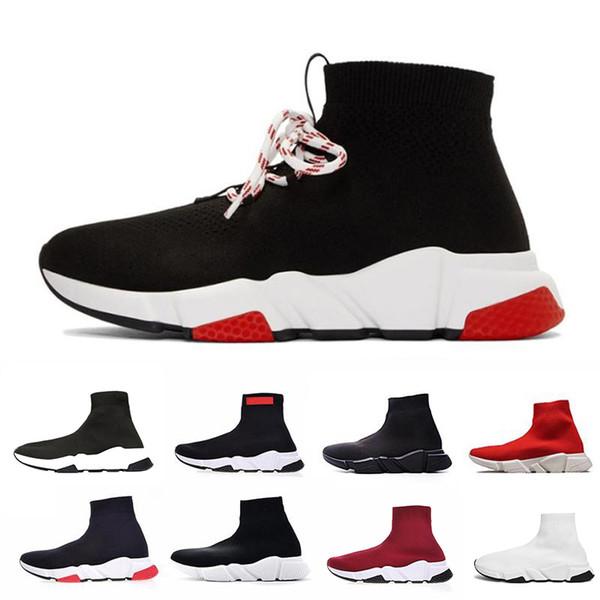 Balenciaga  Meia Sapatos de Marca Velocidade Designer Trainer Correndo Tênis Corredores de Corrida Preto Branco Vermelho Das Mulheres Dos Homens de Moda Casual Calçados Esportivos