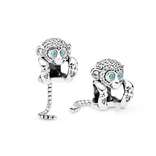 Nouveau Authentique 100% 925 Perles En Argent Sterling Charme Brillant Vif Singe Charmes Fit Pandora Bracelets Diy Femmes Bijoux