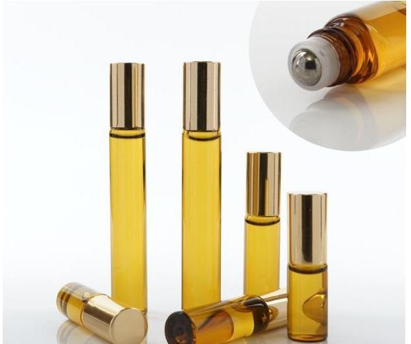 best selling 3ML 5ml 10ML Mini Roll On Glass bottle fragrance PERFUME Amber Brown THICK GLASS BOTTLES ESSENTIAL OIL bottle Steel Metal Roller ball B813