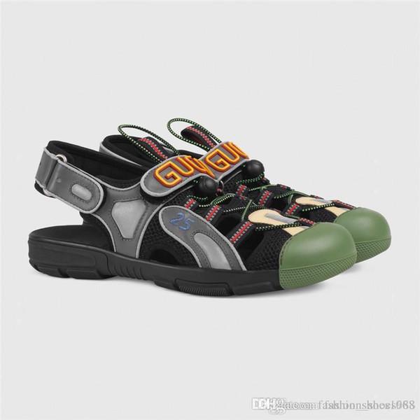 Son Kadın Erkek Sandal Flashtrek Sneakers, Kristaller ile üst Deri ve Örgü Sandal Yürüyüş Sandalet ile Bahar Koleksiyonu Boyutu 35-44