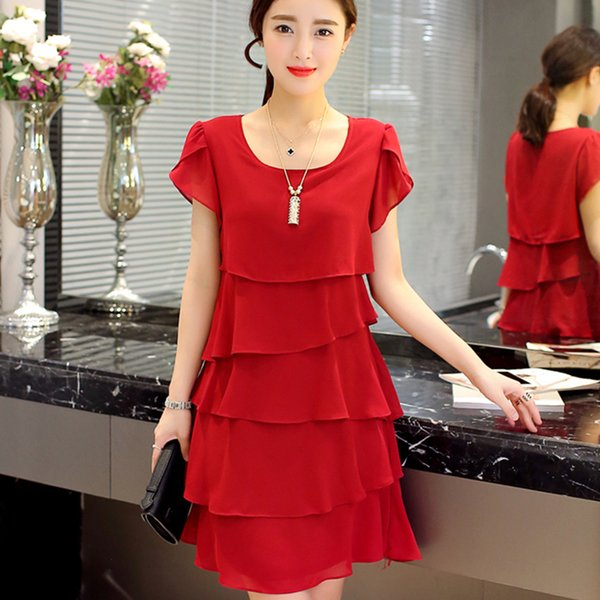 2019 New Women Plus Size 5xl Summer Dress Loose Chiffon Cascading Ruffle Red Dresses Causal Ladies Elegant Party Cocktail Short T190730