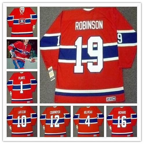# 19 LARRY ROBINSON Montreal Canadiens HENRI RICHARD JEAN BELIVEAU YVAN COURNOYER KEN DRYDEN CCM Vintage Retro Hockey Jersey