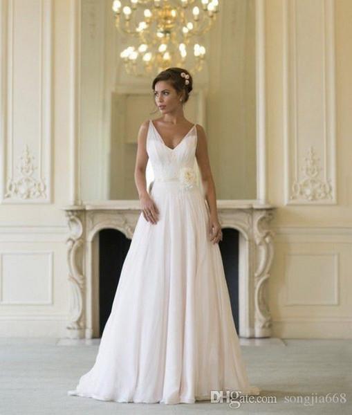 2019 vestido de alta calidad vestidos de noiva Nuevo A Line Tank V Cuello de flores Vestido de novia de gasa
