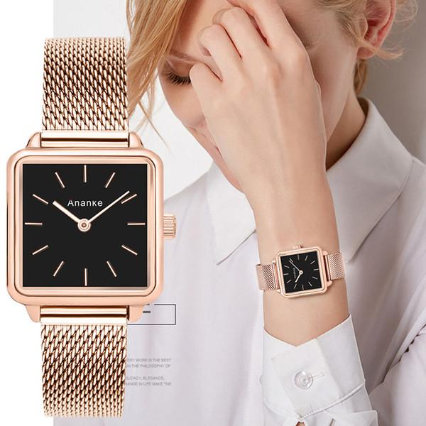 Montres-bracelets de luxe pour femmes robe de quartz de femmes montre-bracelet petite Rose or maille d'acier horloge femelle Relogio Feminino Nouveau