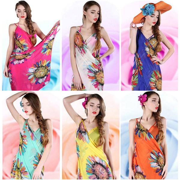 best selling Fashion Women Floral Dress Bikini Cover Sunflower Print Sexy Beach Dress Bohemian Sarong Beach Wrap Scarf Shawl Brace Swimwear new
