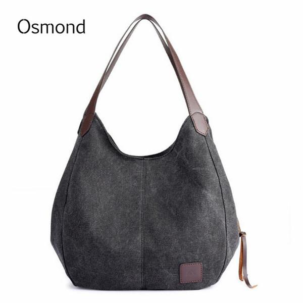 sac fashion Osmond Vintage Handbags Canvas Bag Women Solid Shoulder Bags Ladies Casual Totes Large Bolsa Retro Hobos Bag Fashion Sac a main