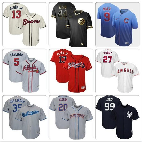 Mujer para hombre Niños Cody Bellinger Mike Trout Aaron juez Javier Baez Anthony Rizzo Pete Alonso Los Angeles Dodgers Ángeles camisetas de béisbol regalo
