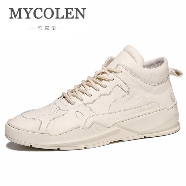 Otoño Invierno Zapatillas Mycoron A Nueva Con Compre Zapatos Caliente Moda Venta Herenschoenen Hombres Altas Blancas De Cuero Cordones E FKTJc1l