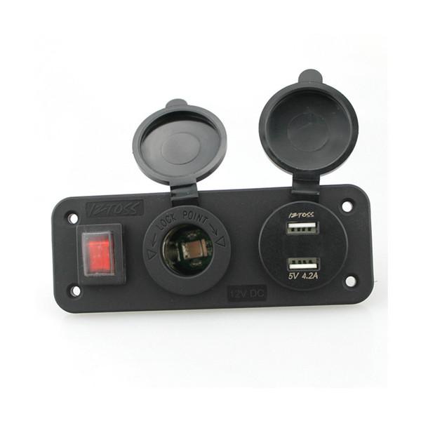 DC12V À Prova D 'Água Soquetes de Isqueiro + 2em1 Dupla USB Voltage 4.2A Carregador Com Interruptor Contro