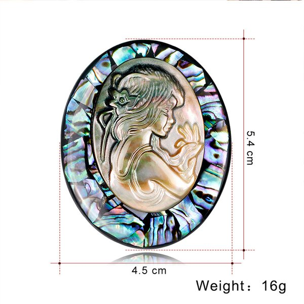 Women Brooches Wholesale In Stock Natural Abalone Shell Beauty Head Series Brooch Factory Direct Dress Suit Tie Girl Pins Jewelry
