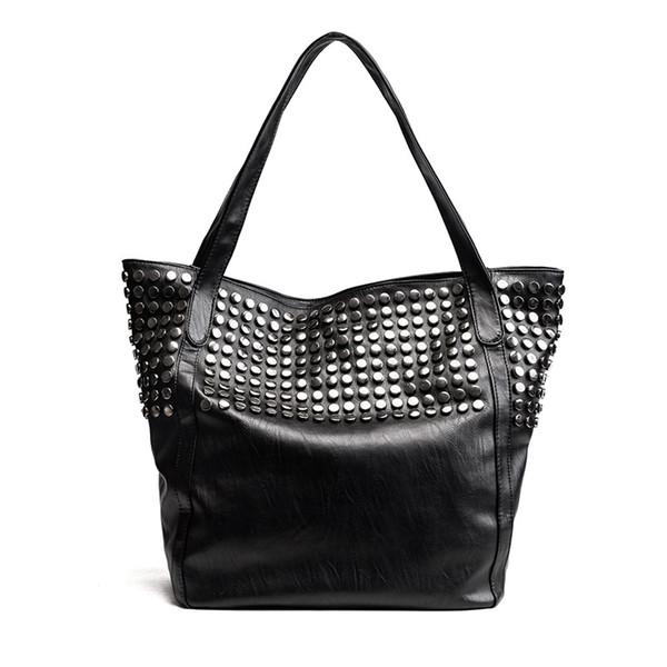 AUAU-Big Bag For Women Summer Shopper Bag Tote Rivet Large Capacity Soft Leather Casual Black Handbag Ladies Sling