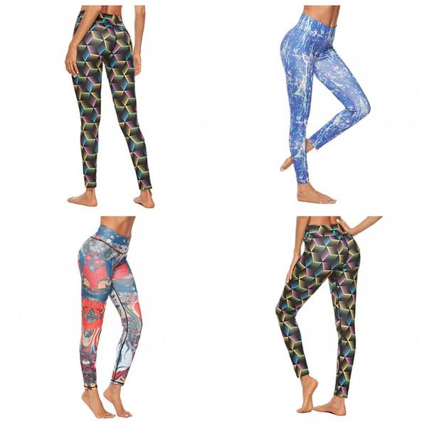 Pantalons d'impression 3D Épissage Jambières numériques Pantalons de yoga Hip Lifting Mesdames Skinny Plusieurs Styles Couleurs Taille Mix