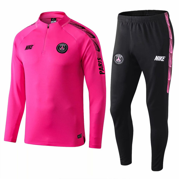 Best sale 19 /20 Paris pink tracksuits 2019 2020 Man City adults green sportwear SPURS purple long sleeve half zipper training suits