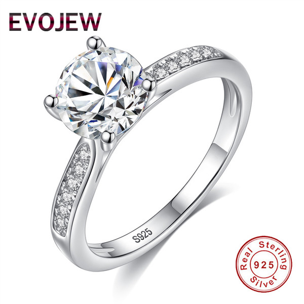2018 New Classic 925 Sterling Silver CZ Rings For Women Luxury Crystal Engagement Rings Fashion Female Wedding Bands Jewelry