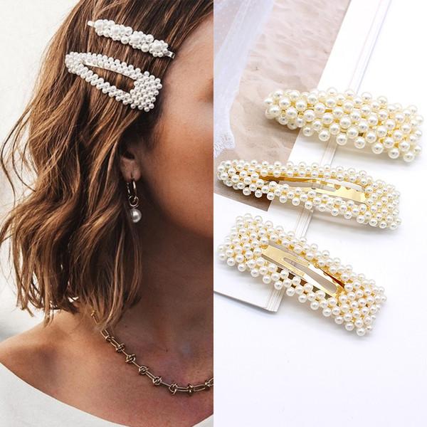 Acheter 2019 Mode Femme Accessoires De Cheveux Perle Pince À Cheveux Pin En  Métal Géométrique Alliage Hairband Barrettes Hairgrip Barrette Filles