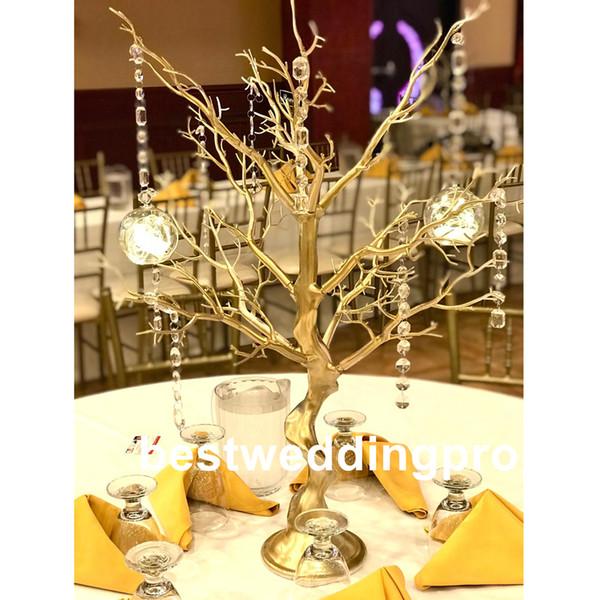 Nouveau produit élégant Grand suspendus acrylique cristal candélabres maîtresses mariage or, argent ou or candélabres décoration best0578