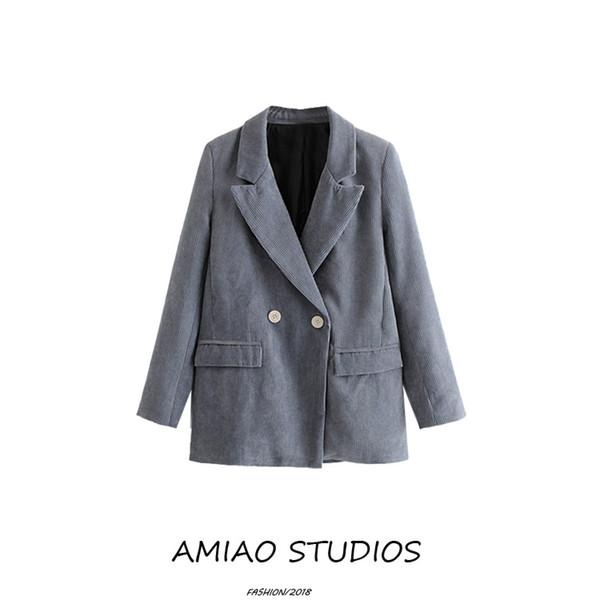 Dama de oficina Retro chaqueta de traje de pana mujer chaqueta azul traje mujer primavera otoño casual elegante hebilla delgada delgado