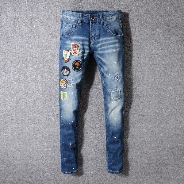 Biker Jeans Rétro Do Europe Doigt Usé Slim Jeunesse Mode Nostalgie Cowboy Pantalon Homme