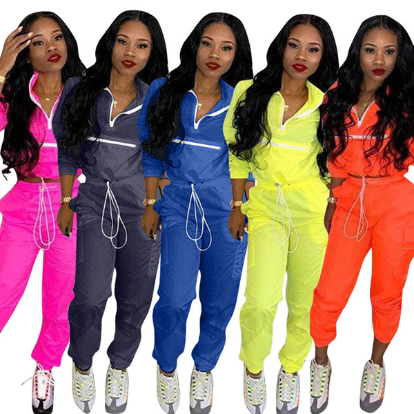 Casual Two Piece Tracksuit Women Turn Down Collar Long Sleeve Crop Top+Drawstring Pants Streetwear 2 Piece Outfits Sweatsuit AAA1975
