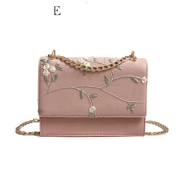 good quality 2019 Summer Women Messenger Bags Embroidery Pu Leather Small Solid Women Bag Floral Flap Shoulder Crossbody Bag