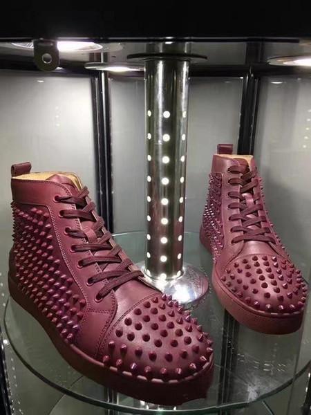 Unisex Red Bottom бренд Sneaker Дизайнер Шипованные Шипы Плоская обувь Роскошные ботильоны Для Мужчин Женщин Дизайнер Повседневная Обувь С Коробкой